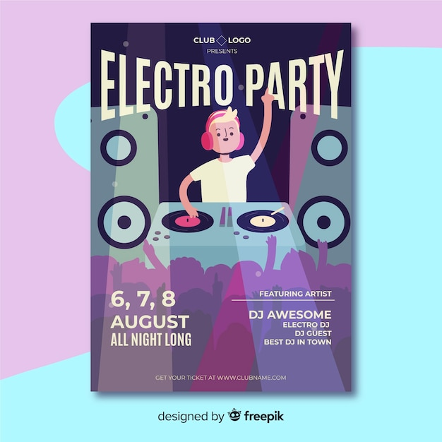 Flat music festival poster template Free Vector