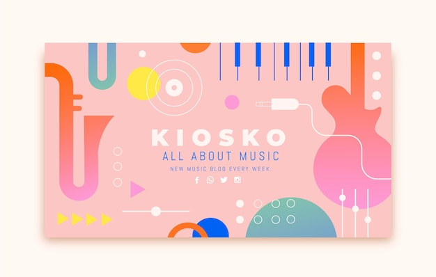Flat music youtube channel art Free Vector