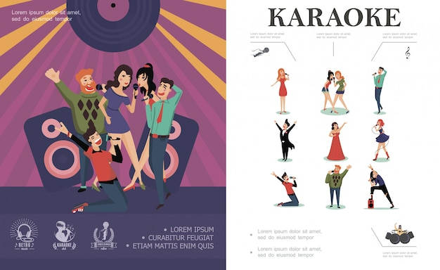 Flat musical entertainment composition with pop rock country opera singers and happy people singing on stage of karaoke club Free Vector