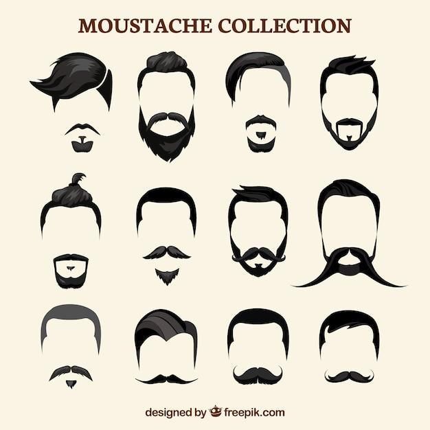 Flat mustache collection Premium Vector