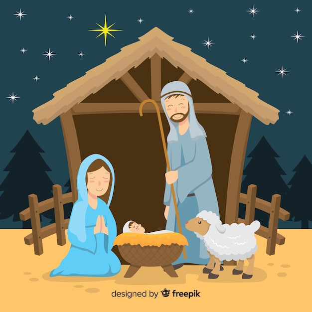 Flat nativity background Free Vector
