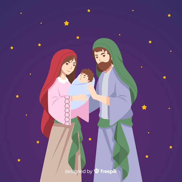 Flat nativity night background Free Vector