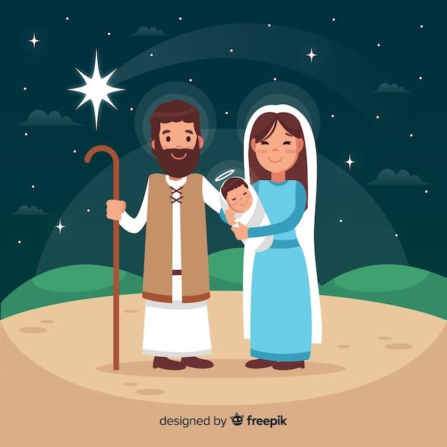 Flat nativity scene background Free Vector
