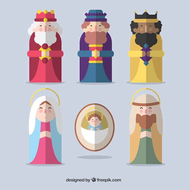 Flat nativity scene icons Free Vector