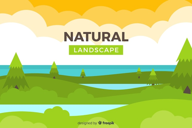 Flat natural background with landscape Free Vector