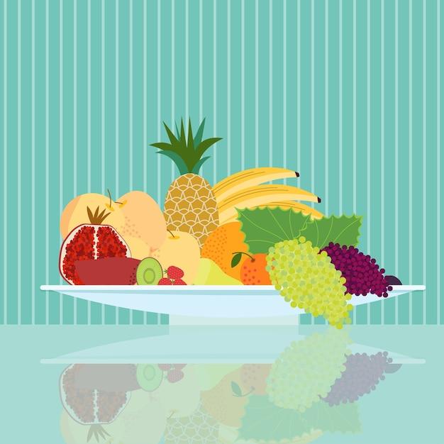 Концепция плоской натуральной пищи Бесплатные векторы