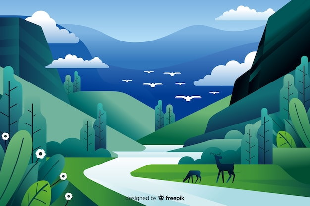 Flat natural landscape with deers Premium Vector