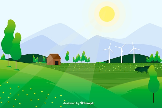 Flat natural landscape with sun and farm in the forest Free Vector