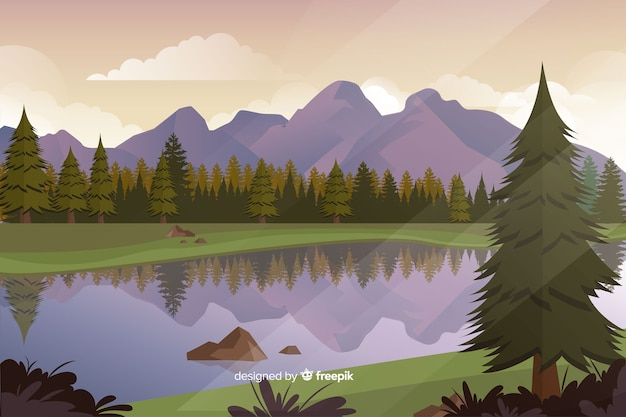 Flat natural landscape with trees Free Vector