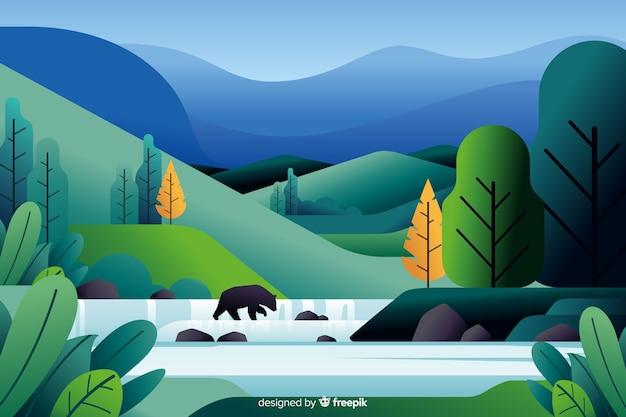 Flat natural landscape with vegetation Free Vector