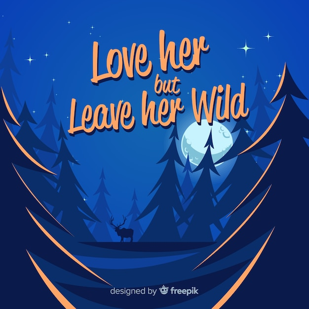 Flat nature background with quote Free Vector