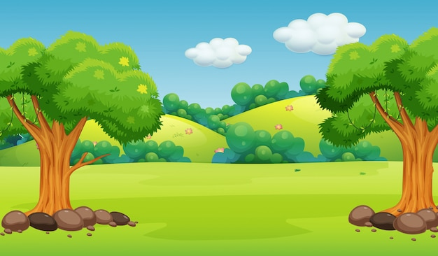 A flat nature background Free Vector