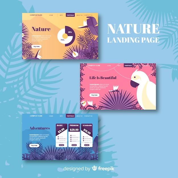 Flat nature landing page set Free Vector