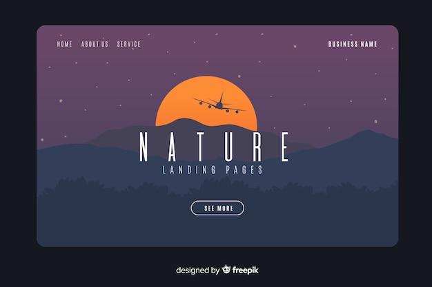 Flat nature landing page template Premium Vector