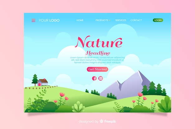 Flat nature landing page template Free Vector