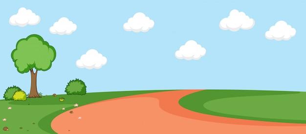 A flat nature landscape Free Vector