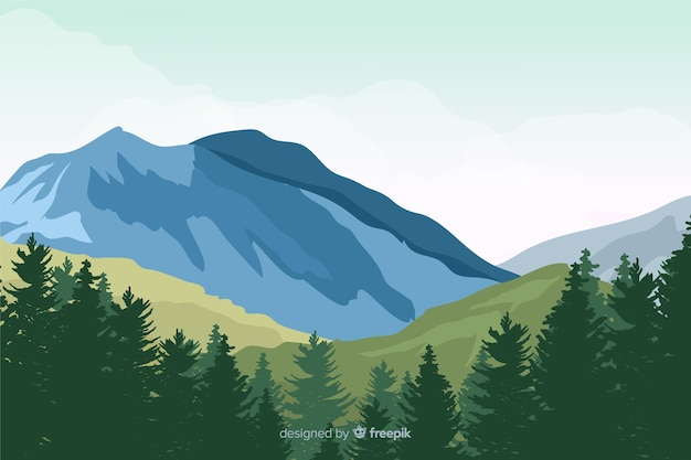 Flat natutral landscape with trees Free Vector