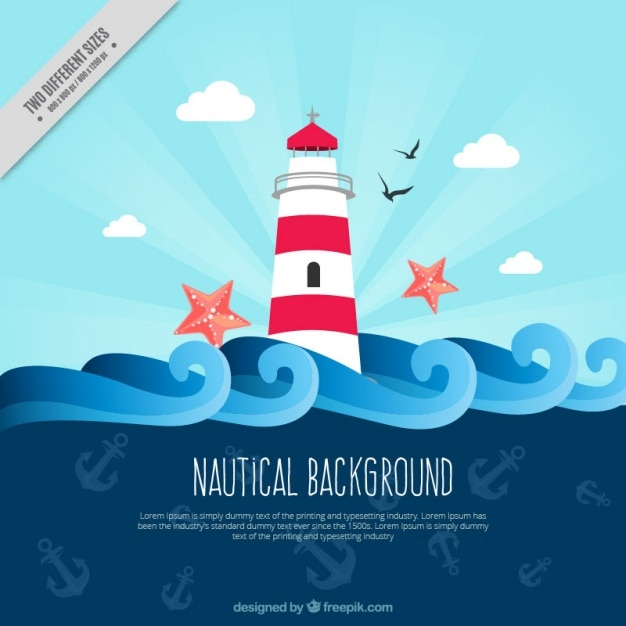 Flat nautical background with anchors and lighthouse Free Vector