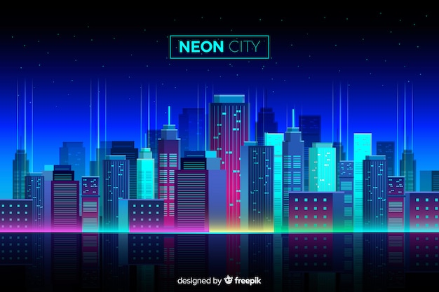 Flat Neon Cityscape Background Free Vector