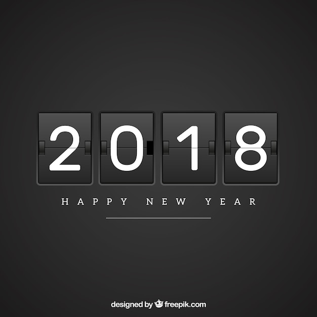 Flat new year 2018 background in black Free Vector