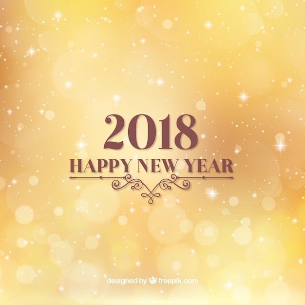 flat new year 2018 background in yellow free vector