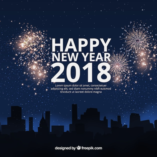 Flat new year 2018 background with fireworks Free Vector