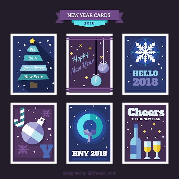 flat new year 2018 cards in purple free vector