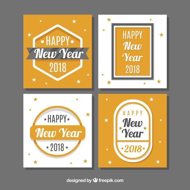 Flat new year 2018 cards with little stars Free Vector
