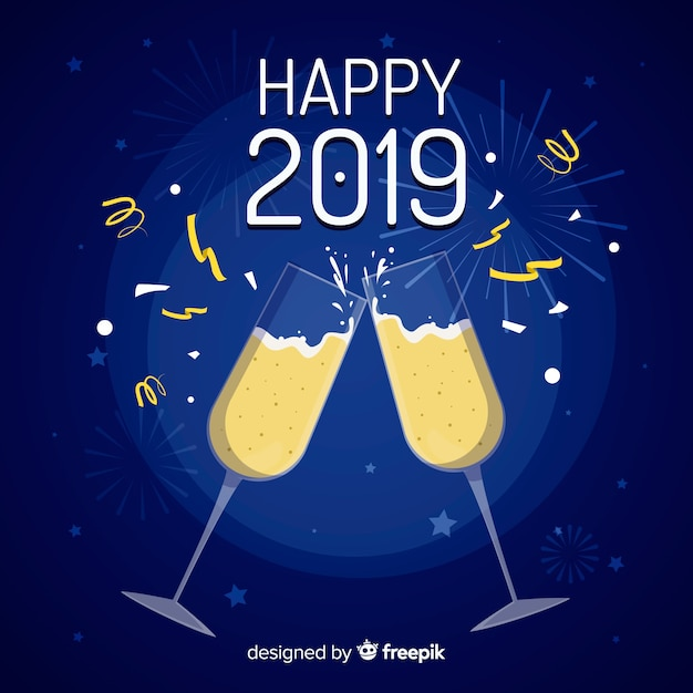 Flat new year 2019 background Free Vector
