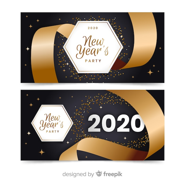 Flat new year 2020 party banners with big ribbon Free Vector