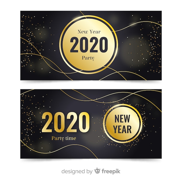 Flat new year 2020 party banners with golden sparkles Free Vector