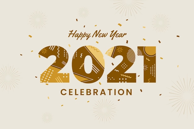 Плоский новый год 2021 фон Бесплатные векторы