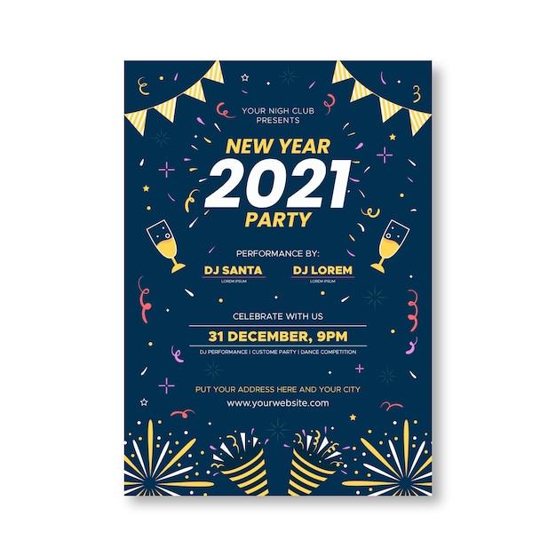 Плоский шаблон флаера для вечеринки новый год 2021 Бесплатные векторы