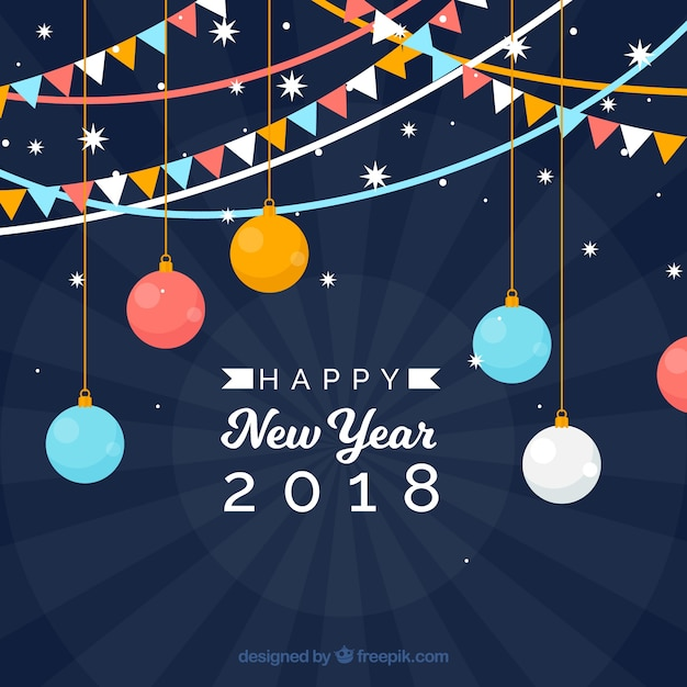Flat new year background with colourful flags and baubles