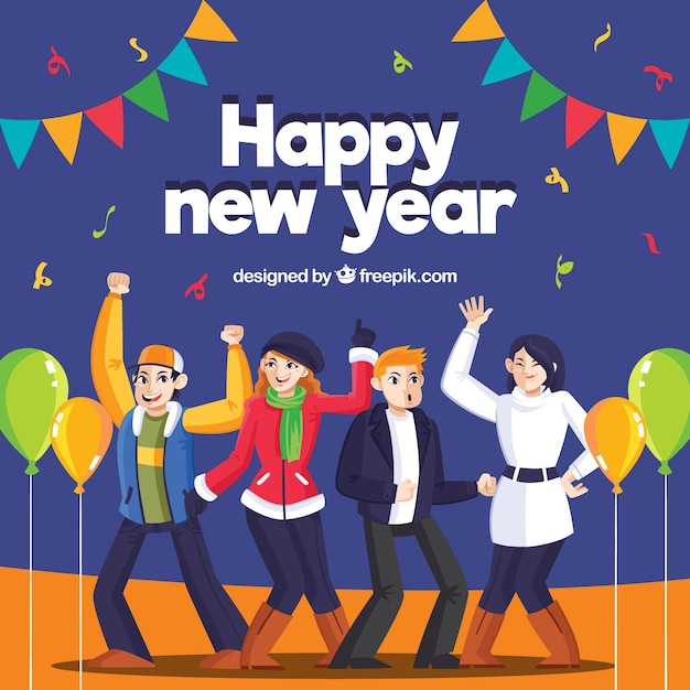 Flat new year background with dancing\ people