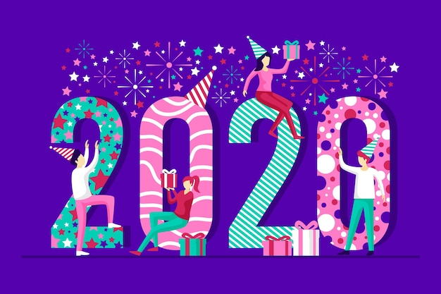 Flat new year background Free Vector