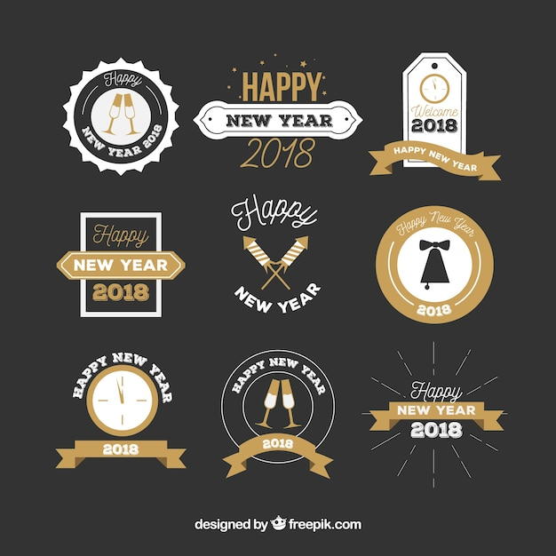 Flat new year badges on a black background