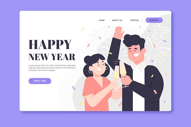 Flat new year landing page template Free Vector
