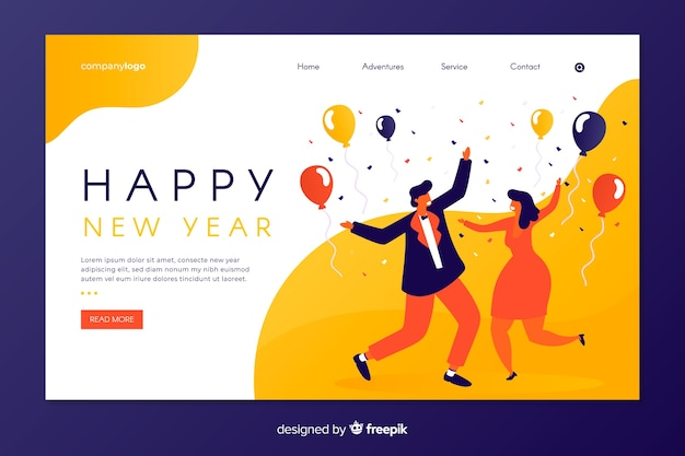 Flat new year landing page with people dancing Free Vector
