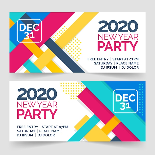 Flat new year party banners Free Vector