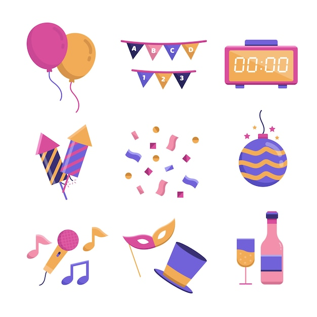 Flat new year party element collection Free Vector
