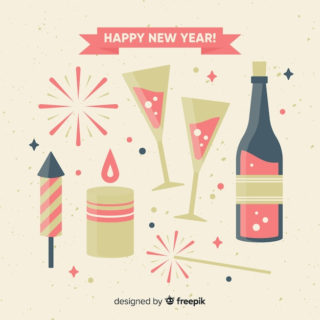 Flat new year party elements background Free Vector