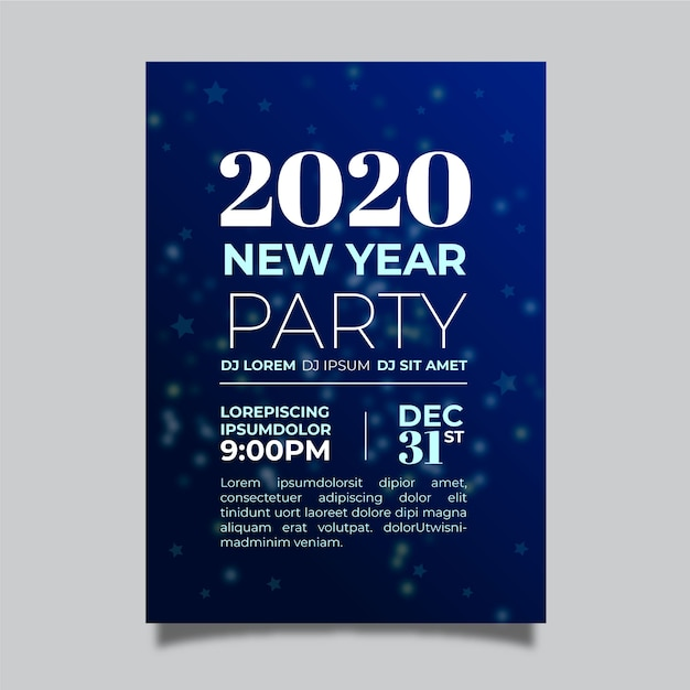 Flat new year party flyer template Free Vector