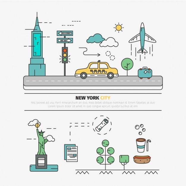 Flat new york city elements Free Vector