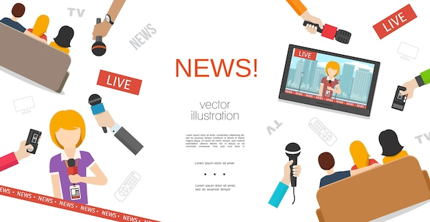 Flat news colorful template Free Vector