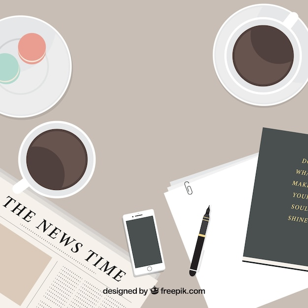 flat newspaper background and coffee vector free download