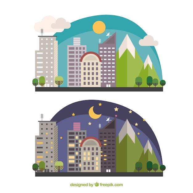 Flat night and day city skyline Premium Vector