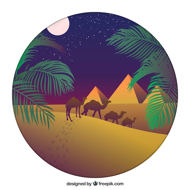 Flat night landscape with egyptian pyramids and\ caravan of camels