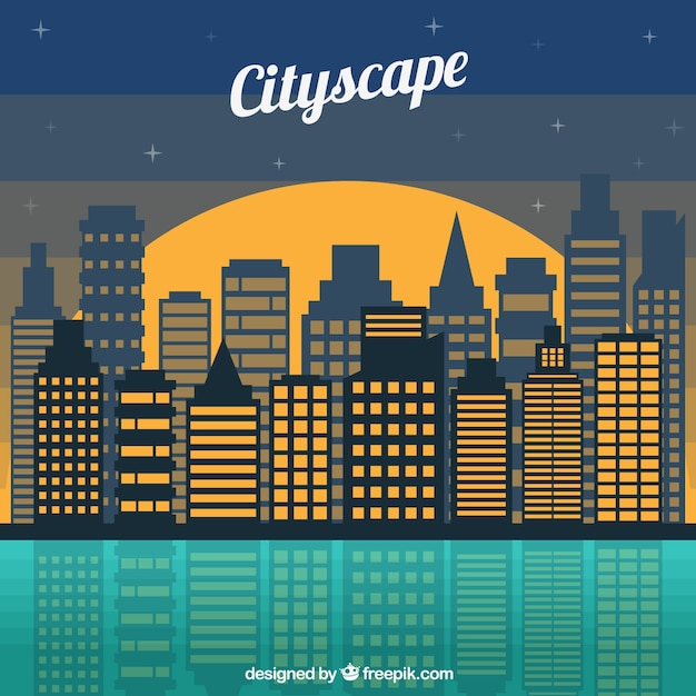 Flat night modern city background