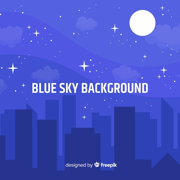 Flat night sky background Free Vector